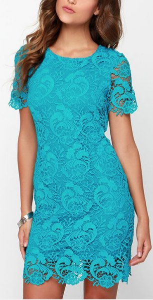 Short sleeve mini bodycon aqua blue lace dress