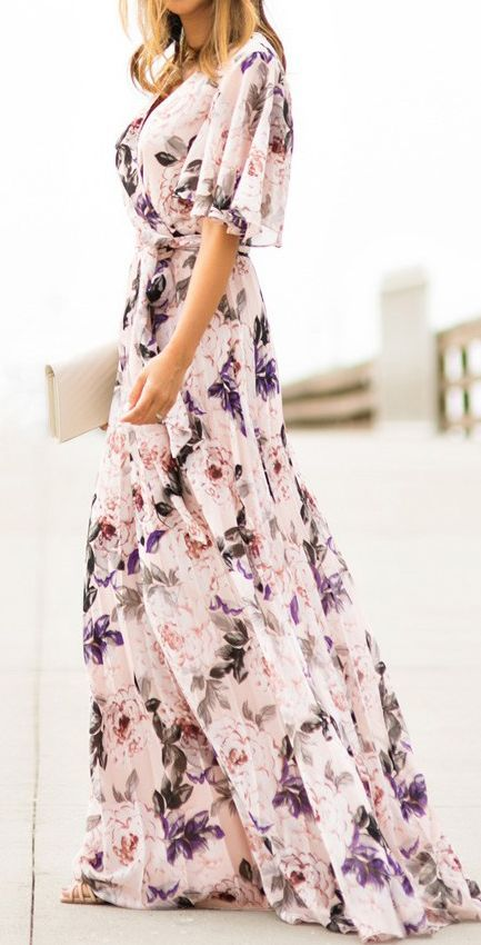 short-sleeved white maxi dress with floral pattern