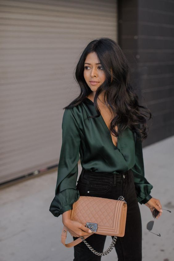 Silk shirt outfit ideas | Green Outfit Ideas | ,