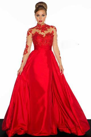 Silk flowing floor-length evening dress