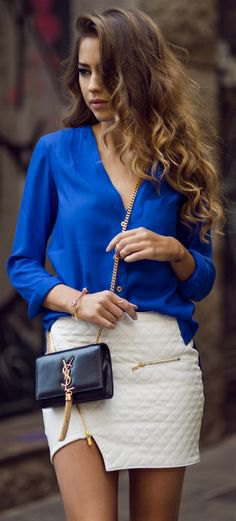 Silk shirt with white quilted, figure-hugging wrap-around mini skirt