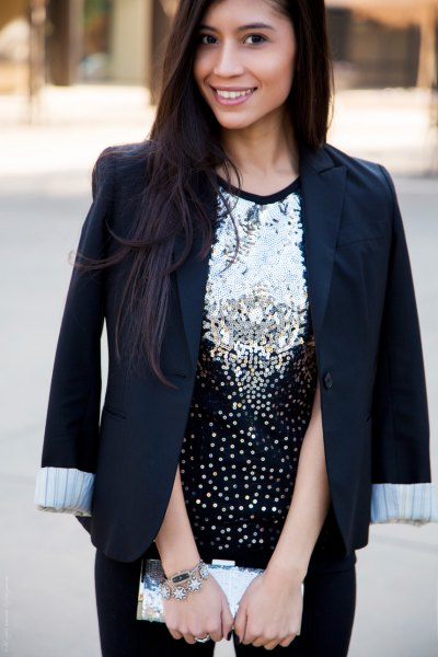 silver and black sequin top with blazer and skinny jeans