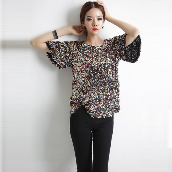 silver and black, sparkling, oversized t-shirt with slim fit jeans