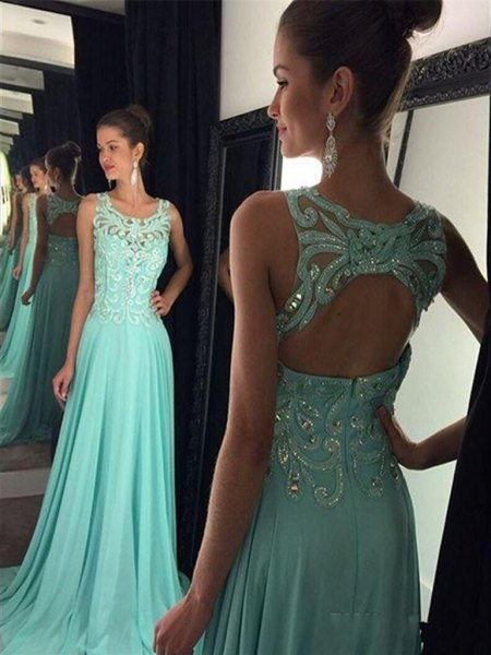 sleeveless, floor-length evening dress in silver and mint green