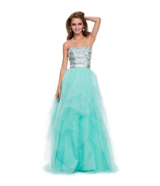 silver and mint green strapless tulle maxi dress