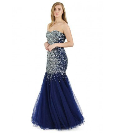 Silver and Navy Blue Chiffon Tulle Dress
