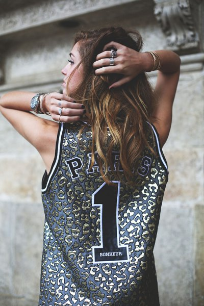 silver and pink tank top made of basketball jersey with blue denim shorts