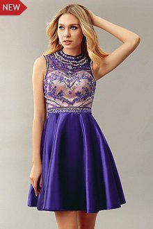 silver and purple semi-transparent cocktail dress with floral embroidery