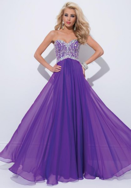 Silver and purple, two-tone floor-length dress with a fit and flare