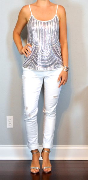 silver and white striped metallic tank top with slim ankle jeans