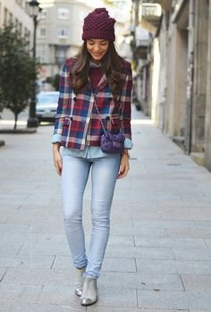 silver navy ankle boots and brown plaid boyfriend shirt