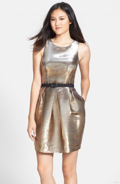 silver metallic tank dress with belt and open toe heels
