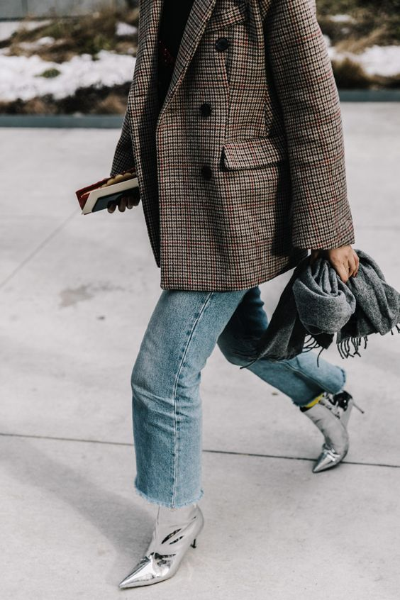 silver ankle boots jeans plaid