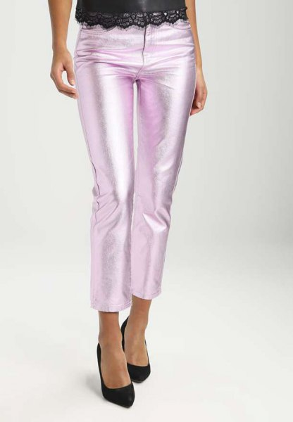 silver, cropped jeans with black lace top with scalloped hem
