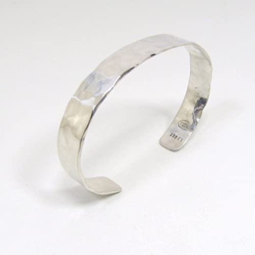 Amazon.com: Pure Silver Cuff Bracelet, Hammered Rustic Solid Pure .