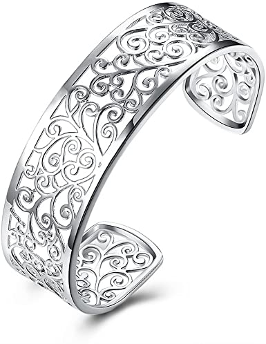 Amazon.com: Kacon 925 Sterling Silver Hollow Cuff Bracelets for .