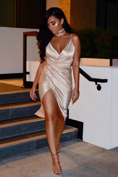 silver wrap dress made of satin with deep V-neck