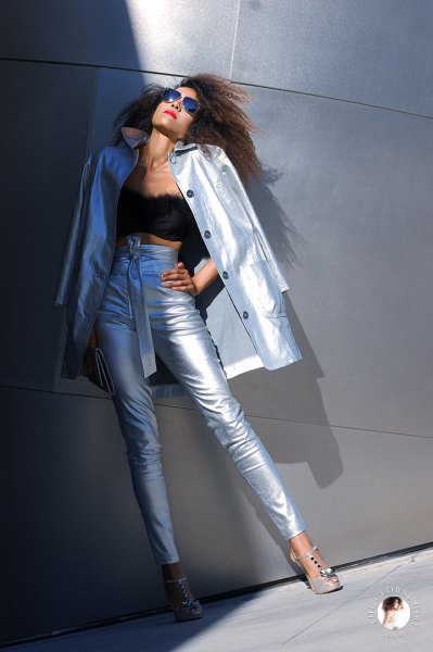 silver longline trench coat with matching metallic jeans