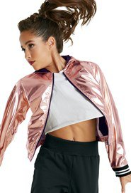 silver metallic windbreaker with white, cropped T-shirt