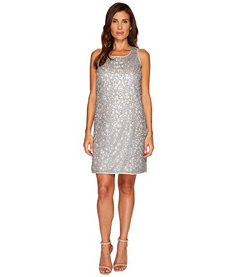 silver lace mini dress with scoop neckline and open toe heel