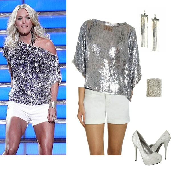 silver metallic sequin shirt with one shoulder and white mini-shorts