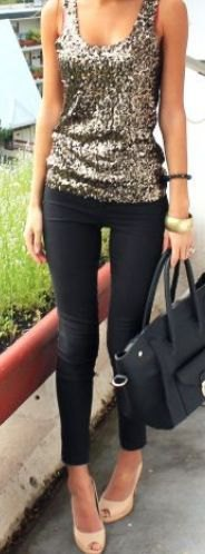silver vest top with sequin neck and black skinny jeans