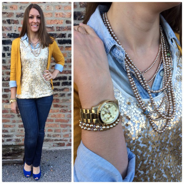 silver sequin tank top over blue chambray shirt