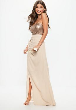 silver sequin vest top with pink high-low maxi skirt