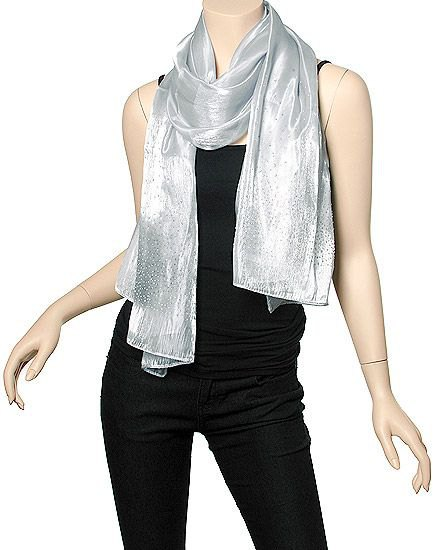 silver scarf with an all black outfit