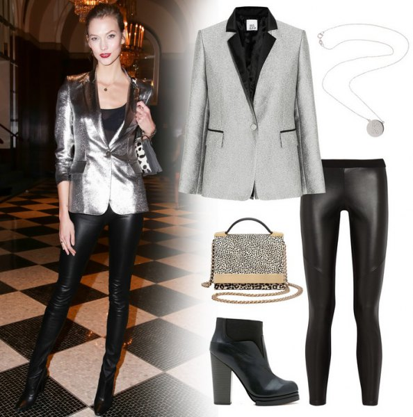 shiny silver blazer with black leather pants