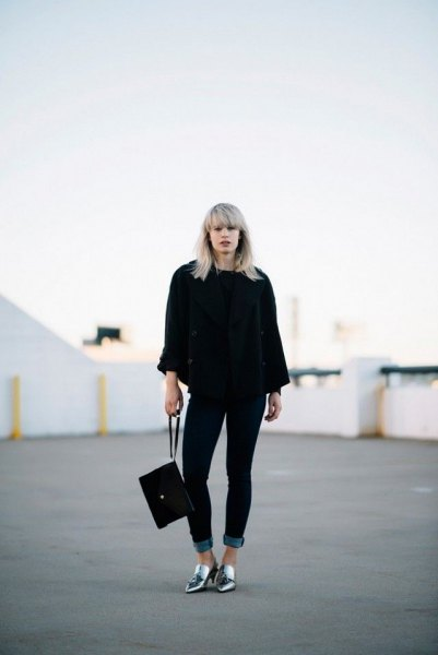 silver shoes black chunky sweater