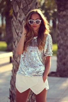 silver short-sleeved sequin top with light yellow mini skort