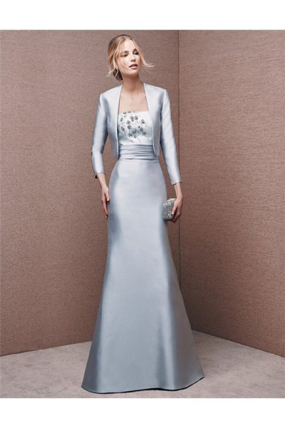 silver silk evening jacket with matching floor-length flowing dress
