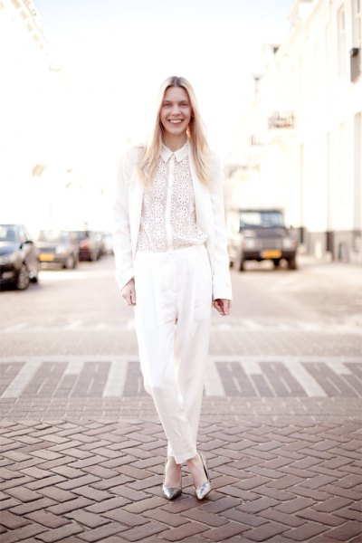 silver glittering heels all white outfit