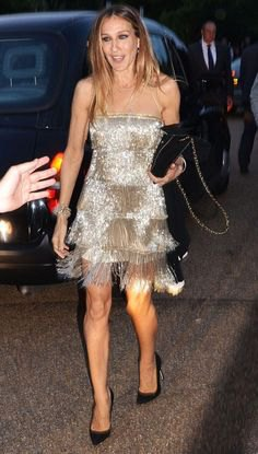 silver strapless sequin dress with fringes