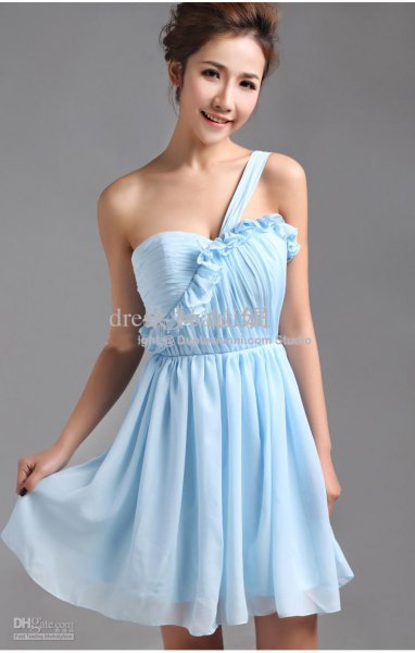 Single Strap Sweetheart Neckline Fit and Flare Chiffon Mini Dress