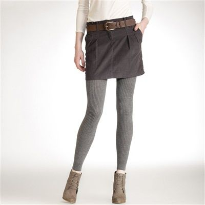 leggings outfit ideas | Cord Skirt over leggings with ankle boots .