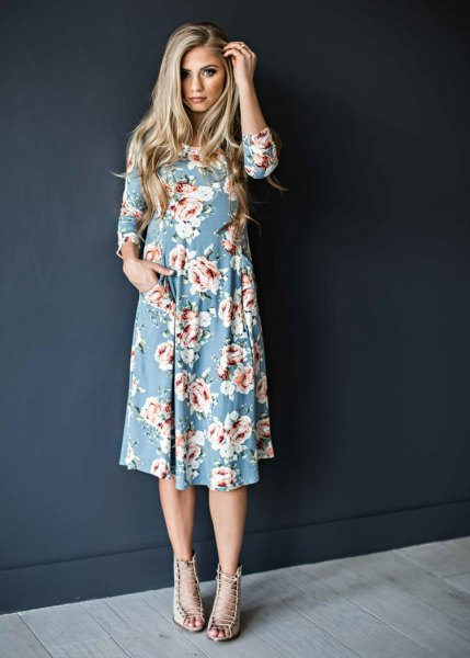 Sky blue and white floral swing midi dress