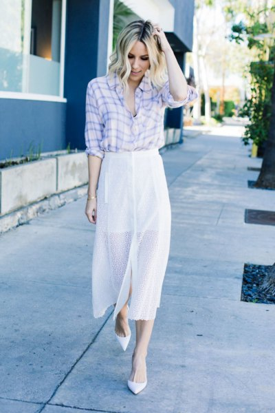 Sky blue and white plaid shirt and maxi skirt