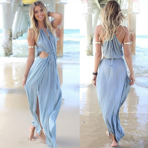 Sky blue bandage with V-neck and maxi dress on the front
