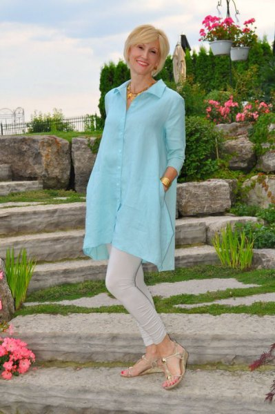 sky blue, extra long tunic shirt with light gray skinny jeans
