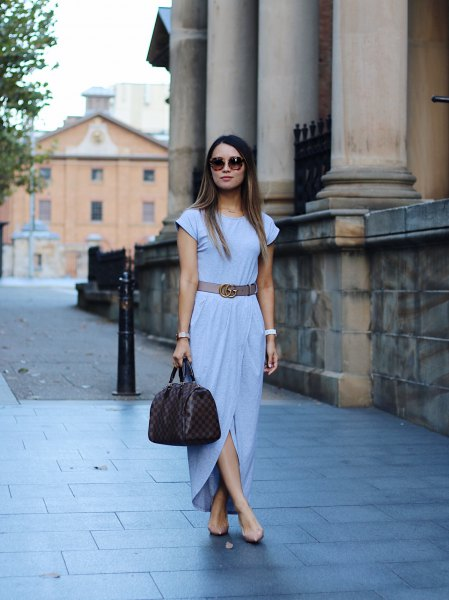Sky blue maxi dress with wrap belt and wing skirt and light pink heels