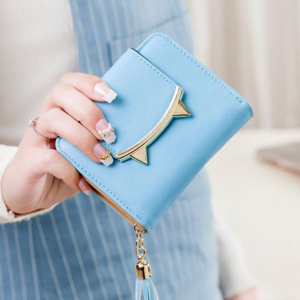 sky blue cat ear shaped mini cute wallet with striped overall dress