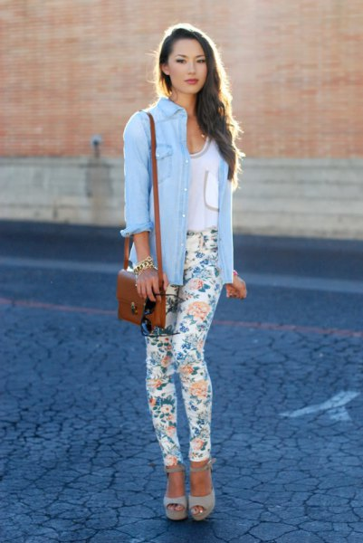 sky-blue chambray shirt with white, narrow drainpipe trousers