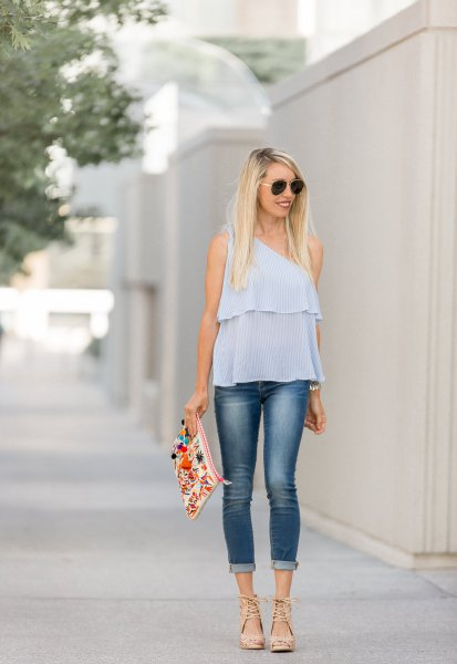 Sky blue chiffon top with skinny jeans with cuffs
