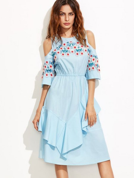 sky blue, floral embroidered midi dress with ruffles