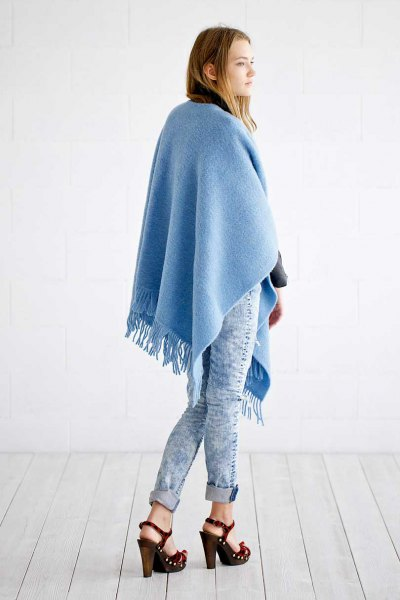 sky blue poncho skinny jeans with fringes made of wool