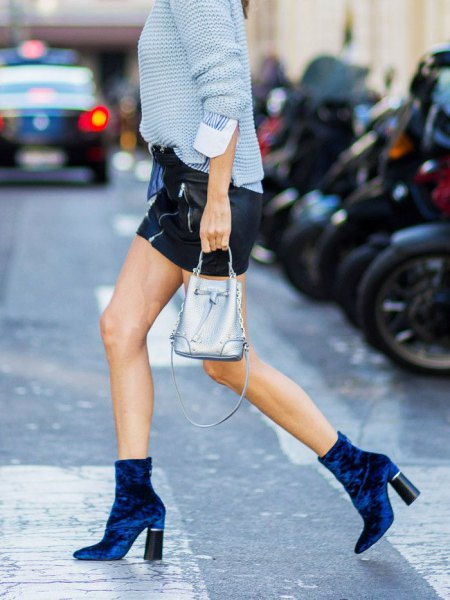 Sky blue knit sweater suede ankle boots