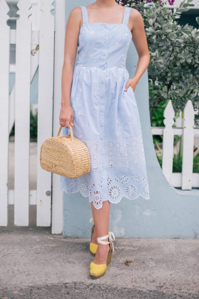 Sky blue lace midi dress with yellow heels