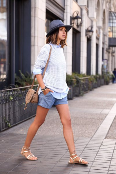 sky blue linen shorts white knitted sweater